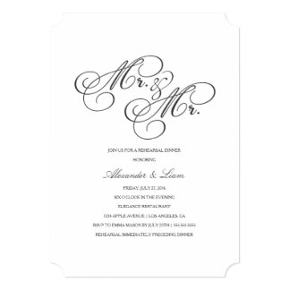 Mr. & Mr. | Rehearsal Dinner Invitation