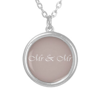 Mr & Mr Typography Beige Silver Plated Necklace
