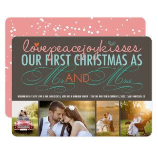 Mr & Mrs 1st Christmas Holiday Photo Collage Card