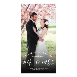 Mr & Mrs 1st Christmas Kisses Holiday Photo Card