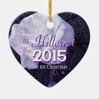 Mr. & Mrs. 2-sided 1st Christmas & Wedding Date Christmas Tree Ornament