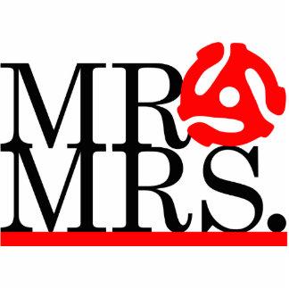 Mr & Mrs 45 Adapter Cake Topper Photo Statuette