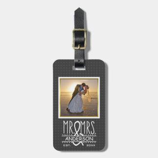 Mr Mrs Ampersand Custom Wedding Photo Honeymoon Luggage Tag