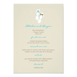 Mr & Mrs Aqua Flip Flops Beach Wedding Menu Card