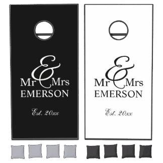 Mr & Mrs B&W custom name & est date Cornhole Set