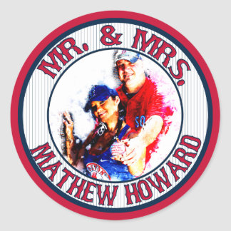 Mr-Mrs Baseball-Stickers-Envelope Seals-HOWARD Classic Round Sticker