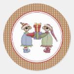 Mr. & Mrs. Bear Christmas Envelope Seals Stickers