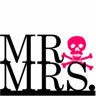 Mr & Mrs Black & Pink Skull Cake Topper Statuette