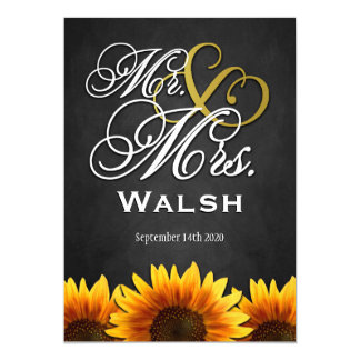 Mr & Mrs Black Sunflower Wedding Invitations