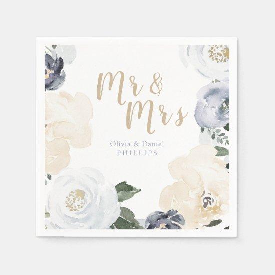 Mr & Mrs Blooming botanical dusty blue wedding Napkin