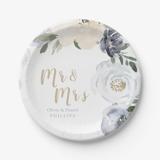 Mr & Mrs Blooming botanical dusty blue wedding Paper Plate