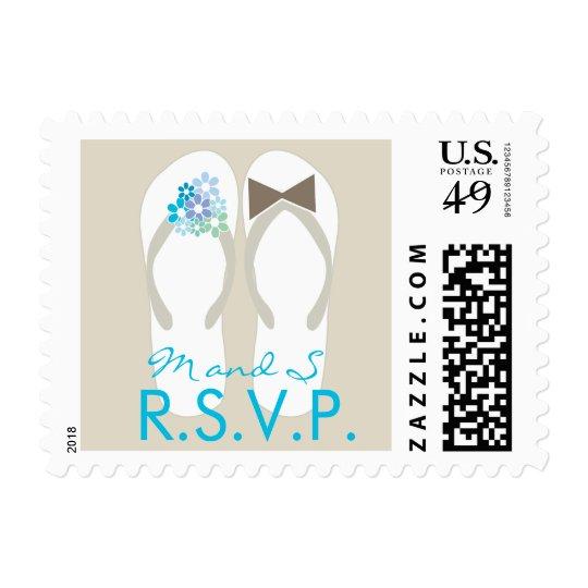 Mr & Mrs Blue Flip Flops Beach Wedding RSVP Stamps