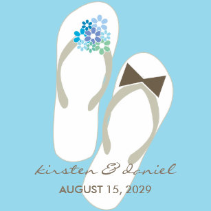 c928e839fb4db4 Mr   Mrs Blue Flip Flops Beach Wedding Sticker