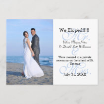 Mr. & Mrs. Blue We Eloped - Photo Announcement