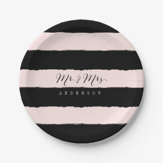 Mr & Mrs Chic Script Calligraphy Stripes Wedding 7 Inch Paper Plate