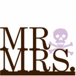 Mr & Mrs Chocolate & Lavender Skull Cake Topper Acrylic Cut Out