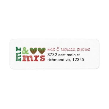 Christmas Themed Mr & Mrs Christmas Hearts Address Labels