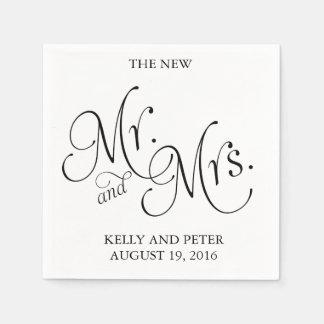 Mr. & Mrs.  Classic Black and White Paper Napkins