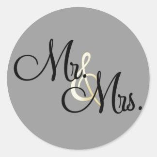 Mr. & Mrs. Classic Round Sticker
