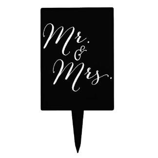 Mr & Mrs Classic Script Calligraphy Name Wedding Cake Topper