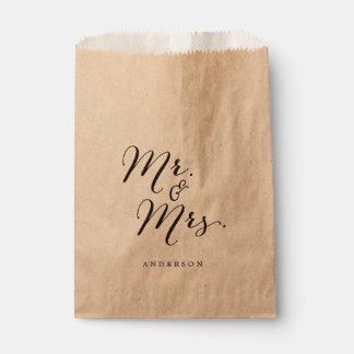 Mr & Mrs Classic Script Calligraphy Name Wedding Favor Bag