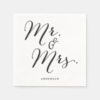 Mr & Mrs Classic Script Calligraphy Name Wedding Standard Cocktail Napkin