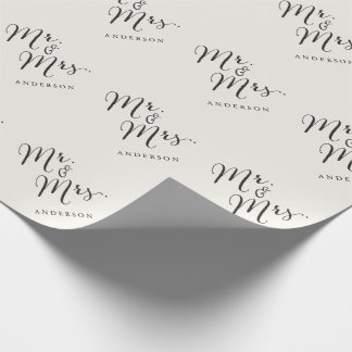 Mr & Mrs Classic Script Calligraphy Name Wedding Wrapping Paper