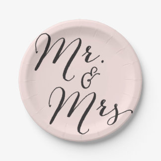 Mr & Mrs Classic Script Chic Calligraphy Wedding 7 Inch Paper Plate
