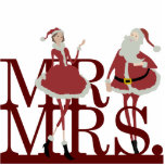 "Mr &amp; Mrs Claus Cake Topper Cutout<br><div class=""desc"">Adorn your Christmas wedding cake with this whimsical Mr. &amp; Mrs. Santa Claus cake topper from Kustom By Kris. The happy holiday couple are dressed in their best holiday attire with a red-on-re theme.</div>"