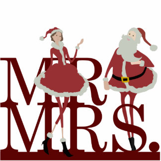Mr & Mrs Claus Cake Topper Standing Photo Sculpture