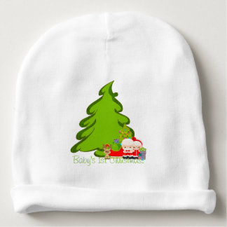 Mr. & Mrs. Claus Christmas Tree Personalized Baby Beanie