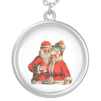 Mr. & Mrs. Claus Round Pendant Necklace