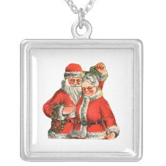 Mr. & Mrs. Claus Square Pendant Necklace