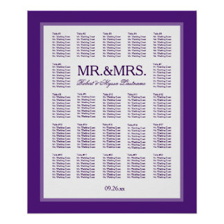 Mr. & Mrs. Color Select Seating Chart