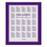 Mr. & Mrs. Color Select Seating Chart Poster