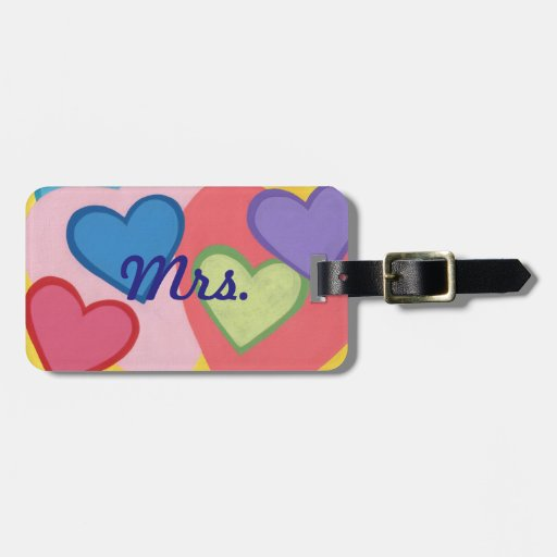 Mr Mrs Colorful Layered Hearts Luggage Tags