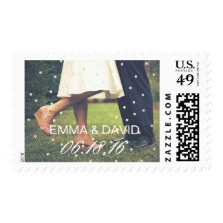 Mr. & Mrs. Confetti Dots Custom Photo Wedding Postage Stamp