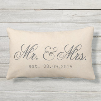 Mr.&Mrs. Cotton Fabric Textured Elegant Lumbar Pillow