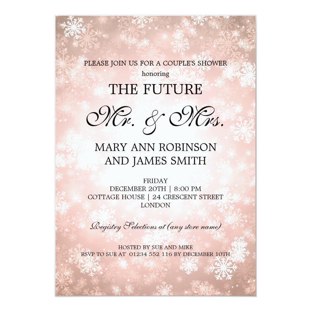 Mr Mrs Couples Shower Copper Winter Wonderland Invitation