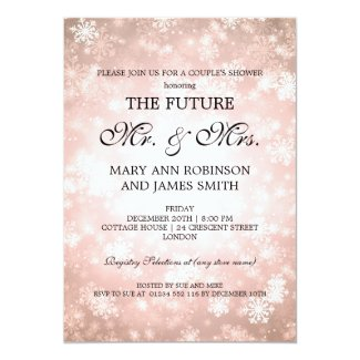 Mr Mrs Couples Shower Copper Winter Wonderland Invitation