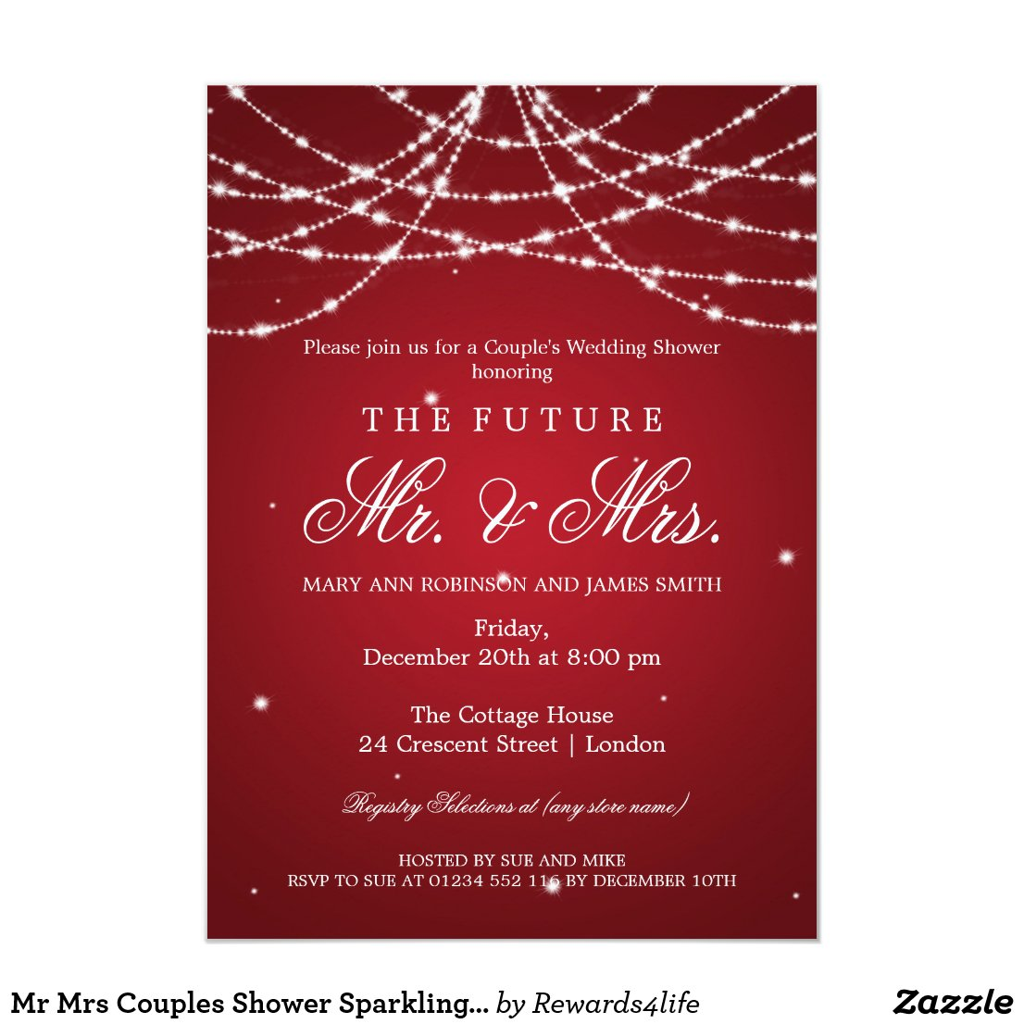Mr Mrs Couples Shower Sparkling String Red Invitation