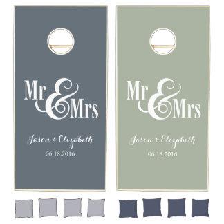 Mr & Mrs custom name & est date Cornhole Set
