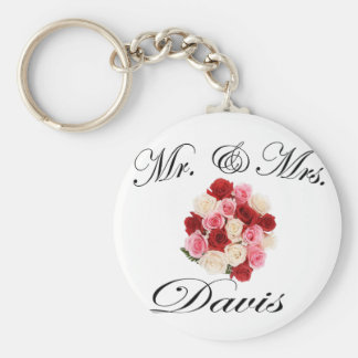 Mr & Mrs. Davis Basic Round Button Keychain