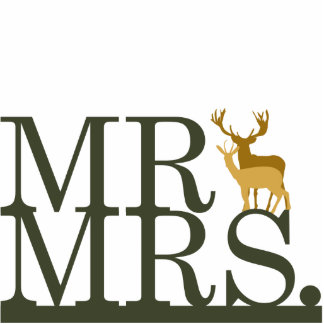 Mr & Mrs Deer Cake Topper Photo Cut Out