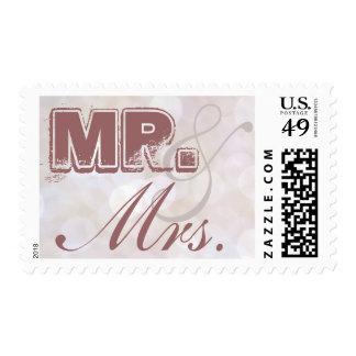 Mr. & Mrs Dusty Rose Pink Quartz Postage