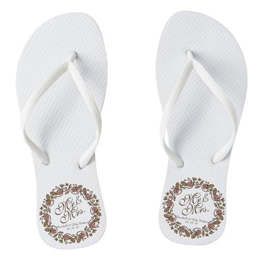 9474bedd4937 Mr.   Mrs. Elegant Floral Wedding Flip Flops