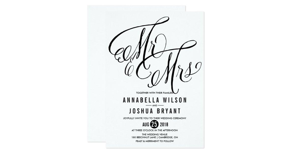 Mr And Mrs Wedding Invitation Wording: Mr. & Mrs. Elegant Script