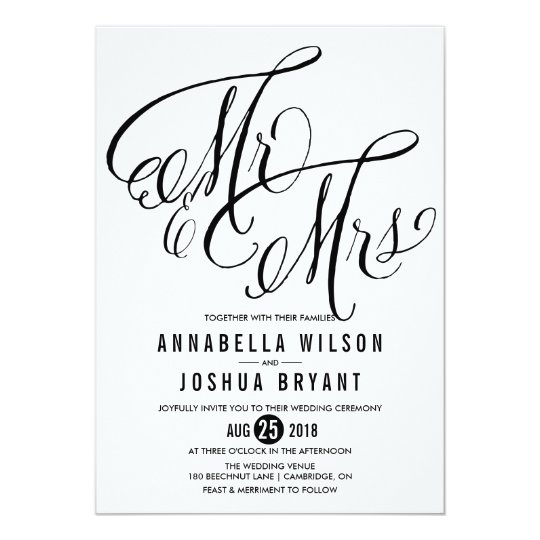 Mr Mrs Elegant Script Wedding Invitation Zazzle Com