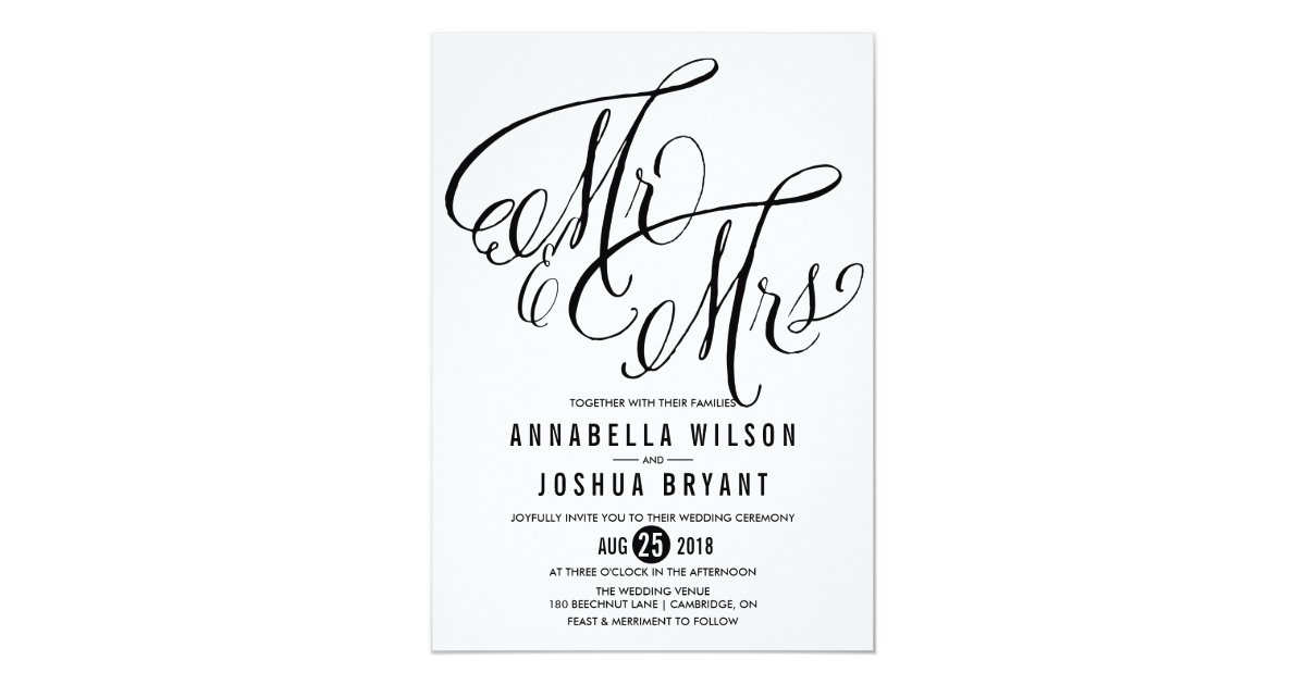 Mr. & Mrs. Elegant Script   Wedding Invitation   Zazzle.com