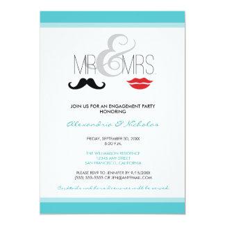 Mr. & Mrs. Engagement Party Invitation (aqua)